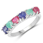 1.88 Carat Genuine Multi Stone .925 Sterling Silver Ring