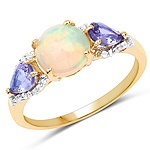 """14K Yellow Gold Plated 1.71 Carat Genuine Ethiopian Opal, Tanzanite and White Topaz .925 Sterling Silver Ring"""
