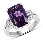 4.95 Carat Genuine Amethyst and White Topaz .925 Sterling Silver Ring