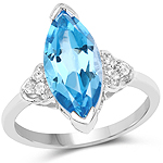 3.78 Carat Genuine Swiss Blue Topaz and White Topaz .925 Sterling Silver Ring