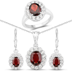 8.34 Carat Genuine Garnet and White Topaz .925 Sterling Silver 3 Piece Jewelry Set (Ring, Earrings, and Pendant w/ Chain)