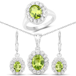 7.70 Carat Genuine Peridot and White Topaz .925 Sterling Silver 3 Piece Jewelry Set (Ring, Earrings, and Pendant w/ Chain)