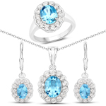 8.54 Carat Genuine Swiss Blue Topaz and White Topaz .925 Sterling Silver 3 Piece Jewelry Set (Ring, Earrings, and Pendant w/ Chain)
