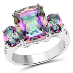 6.10 Carat Genuine Rainbow Quartz .925 Sterling Silver Ring