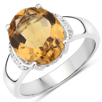 4.62 Carat Genuine Champagne Quartz and White Topaz .925 Sterling Silver Ring