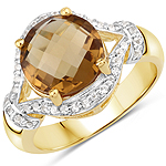 14K Yellow Gold Plated 2.99 Carat Genuine Champagne Quartz and White Topaz .925 Sterling Silver Ring