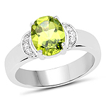 1.76 Carat Genuine Peridot and White Zircon .925 Sterling Silver Ring