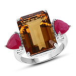 12.80 Carat Champagne Quartz and Glass Filled Ruby .925 Sterling Silver Ring