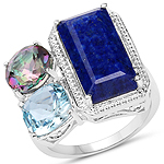 10.65 Carat Genuine Lapis, Blue Topaz and Mystic Quartz .925 Sterling Silver Ring
