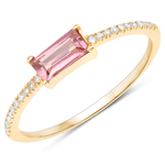 0.47 Carat Genuine Pink Tourmaline and White Diamond 14K Yellow Gold Ring