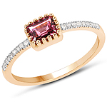 0.65 Carat Genuine Pink Tourmaline and White Diamond 14K Yellow Gold Ring
