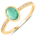 0.70 Carat Genuine Zambian Emerald and White Diamond 14K Yellow Gold Ring