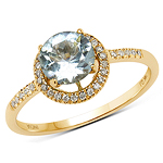 0.86 Carat Genuine Aquamarine and White Diamond 14K Yellow Gold Ring