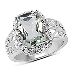 3.94 Carat Genuine Green Amethyst and White Topaz .925 Sterling Silver Ring