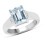 2.64 Carat Genuine Blue Topaz and White Topaz .925 Sterling Silver Ring