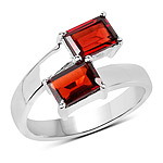 2.40 Carat Genuine  Garnet .925 Sterling Silver Ring