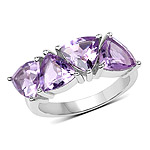 3.60 Carat Genuine  Amethyst .925 Sterling Silver Ring