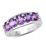1.85 Carat Genuine  Amethyst and White Topaz .925 Sterling Silver Ring