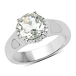 1.87 Carat Genuine Green Amethyst and White Topaz .925 Sterling Silver Ring