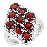 5.22 Carat Genuine  Garnet .925 Sterling Silver Ring