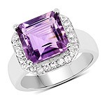4.42 Carat Genuine  Amethyst and White Topaz .925 Sterling Silver Ring