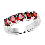 2.50 Carat Genuine  Garnet .925 Sterling Silver Ring