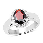 2.58 Carat Genuine  Garnet and White Topaz .925 Sterling Silver Ring