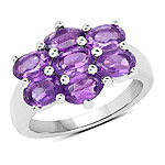 3.01 Carat Genuine  Amethyst .925 Sterling Silver Ring