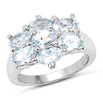 3.57 Carat Genuine  Blue Topaz .925 Sterling Silver Ring