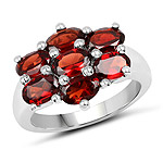 3.57 Carat Genuine  Garnet .925 Sterling Silver Ring