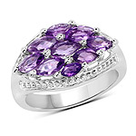 1.91 Carat Genuine  Amethyst .925 Sterling Silver Ring