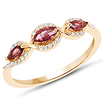 0.43 Carat Genuine Pink Tourmaline and White Diamond 14K Yellow Gold Ring