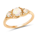 0.68 Carat Genuine Ethiopian Opal and White Diamond 14K Yellow Gold Ring