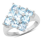 3.24 Carat Genuine  Blue Topaz .925 Sterling Silver Ring
