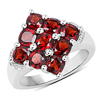 2.97 Carat Genuine  Garnet .925 Sterling Silver Ring
