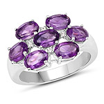 3.05 Carat Genuine  Amethyst and White Topaz .925 Sterling Silver Ring
