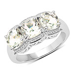 2.70 Carat Genuine Green Amethyst .925 Sterling Silver Ring