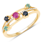 """0.37 Carat Genuine Ruby, Blue Sapphire, Zambian Emerald and White Diamond 14K Yellow Gold Ring"""