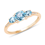 0.80 Carat Genuine Swiss Blue Topaz and White Diamond 14K Yellow Gold Ring