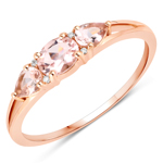 0.52 Carat Genuine Morganite and White Diamond 14K Rose Gold Ring