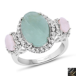 4.76 Carat Genuine Milky Aquamarine, Pink Opal And White Topaz .925 Sterling Silver Ring