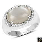 5.28 Carat Genuine Grey Moonstone And White Topaz .925 Sterling Silver Ring