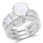 2.08 Carat Genuine White Agate, Crystal Quartz And White Topaz .925 Sterling Silver Ring