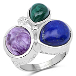 """11.23 Carat Genuine Malachite, Charolite And Lapis .925 Sterling Silver Ring"""