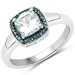 0.83 Carat Genuine Aquamarine and Blue Diamond .925 Sterling Silver Ring