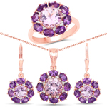 """18K Rose Gold Plated 11.31 Carat Genuine Pink Amethyst and White Topaz .925 Sterling Silver 3 Piece Jewelry Set (Ring, Earrings, and Pendant w/ Chain)"""