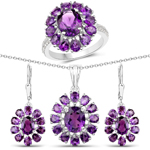 """11.60 Carat Genuine Amethyst and White Topaz .925 Sterling Silver 3 Piece Jewelry Set (Ring, Earrings, and Pendant w/ Chain)"""