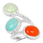 9.50 Carat Genuine Multi Stone .925 Sterling Silver Ring