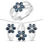 3.86 Carat Genuine Blue Sapphire and White Topaz .925 Sterling Silver 3 Piece Jewelry Set (Ring, Earrings, and Pendant w/ Chain)