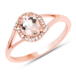 0.78 Carat Genuine Morganite and White Diamond 14K Rose Gold Ring